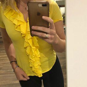 Ralph Lauren Yellow Ruffled Short Sleeve Top